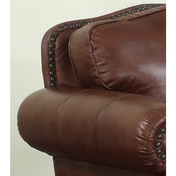 Brandon Distressed Whiskey Italian Leather Sofa and Loveseat - 40 x 95 x 36