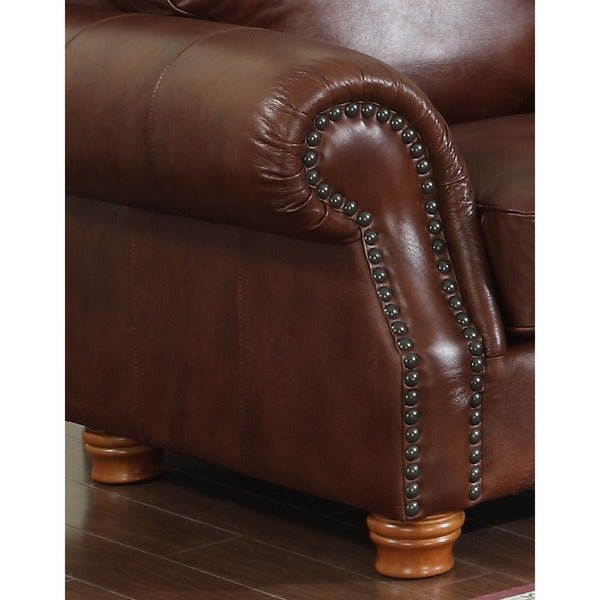 Brandon Distressed Whiskey Italian Leather Sofa And Loveseat   Free  Shipping Today   Overstock.com   13278843