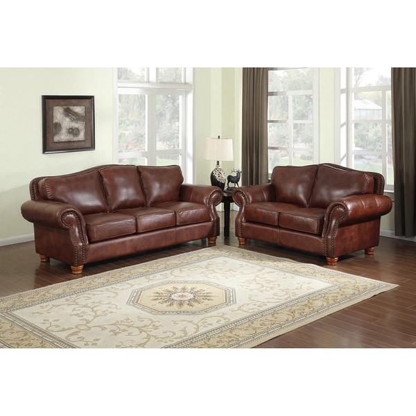 Shop Brandon Distressed Whiskey Italian Leather Sofa and Loveseat ...