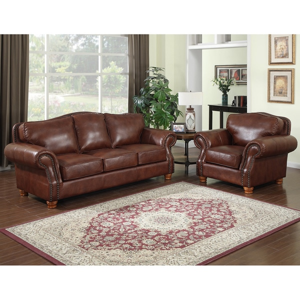 Shop Brandon Distressed Whiskey Italian Leather Sofa and Chair - On ...