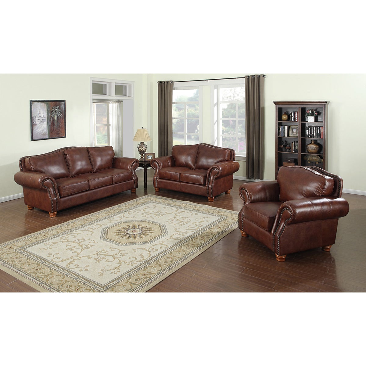 Brandon Distressed Whiskey Italian Leather Sofa Set