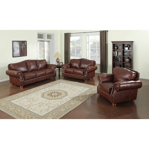 Brandon Distressed Whiskey Italian Leather Sofa, Loveseat, and Chair