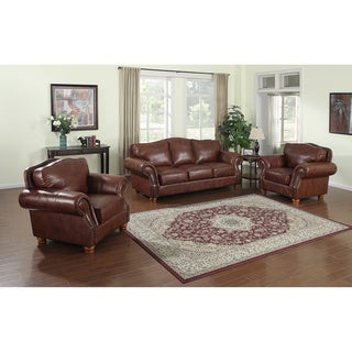 Brandon Distressed Whiskey Top Grain Italian Leather Sofa and Two Chairs