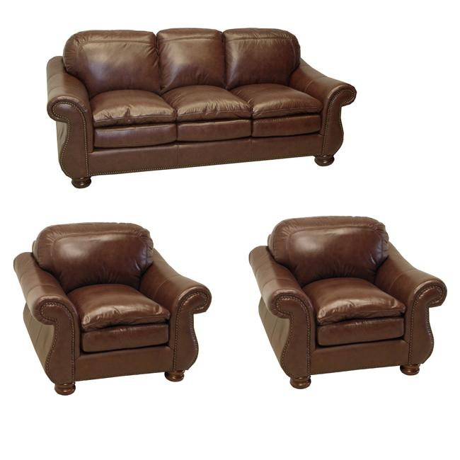 Yale Mahogany Italian Leather Sofa and Two Chairs