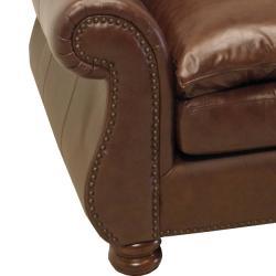 Yale Mahogany Italian Leather Sofa and Two Chairs - Thumbnail 1