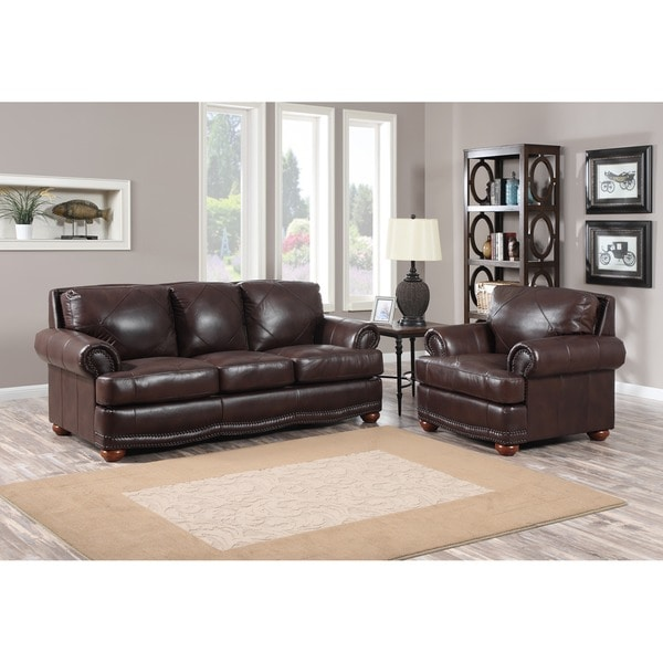 Shop Shoreline Chocolate Italian Leather Sofa And Chair