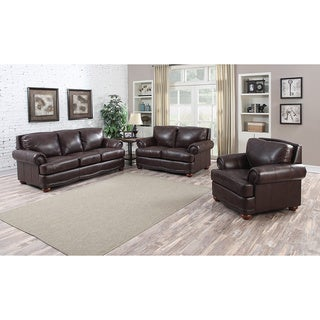 Shoreline Chocolate Italian Leather Sofa, Loveseat and Chair