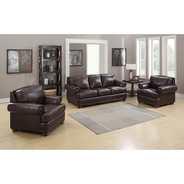 Sline Chocolate Italian Leather Sofa And Two Chairs