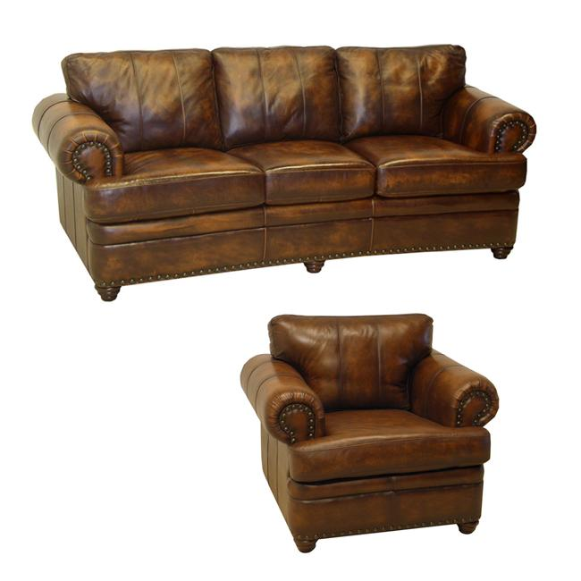 Tudor Bourbon Hand-rubbed Italian Leather Sofa and Chair - Tudor Bourbon Hand-rubbed Italian Leather Sofa And Chair - Free