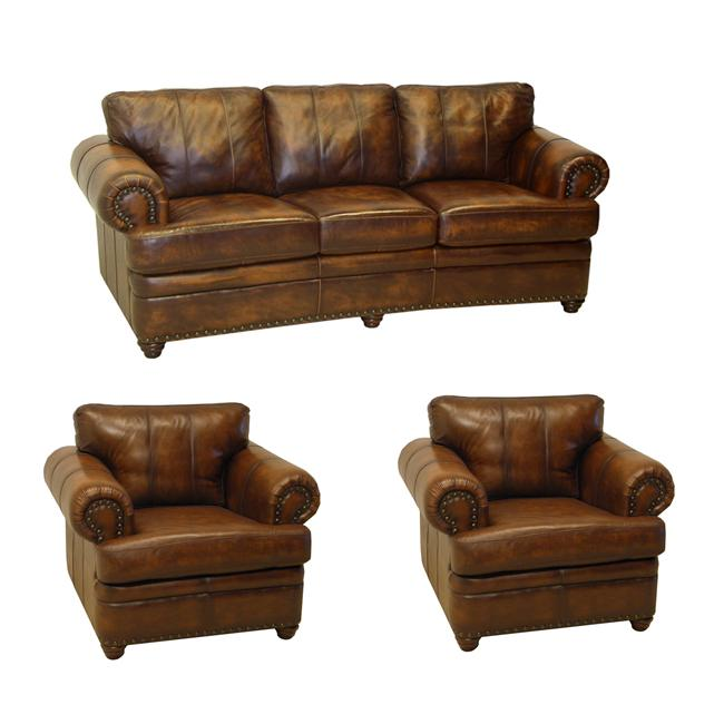 Tudor Bourbon Hand-rubbed Italian Leather Sofa and Two Chairs