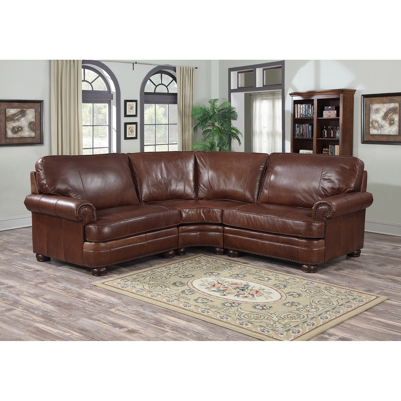- Shop Redmond Distressed Mahogany Italian Leather Sectional Sofa