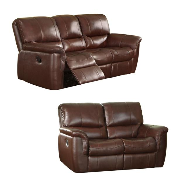 Concorde Wine Italian Leather Reclining Sofa and Loveseat