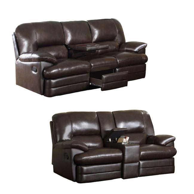 Espresso Leather Reclining Sofa: Coney Coffee Italian Leather Reclining Sofa And Loveseat