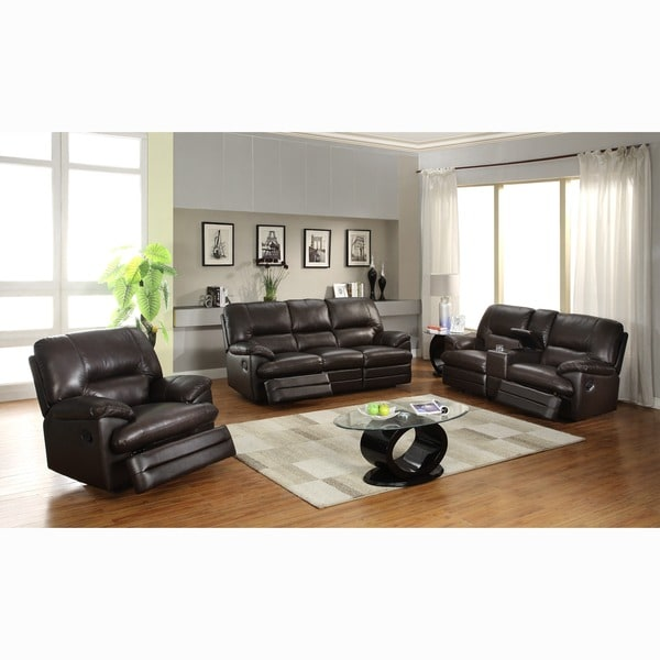 Coney Coffee Leather Reclining Sofa, Loveseat and Reclining Chair