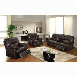 Coney Coffee Italian Leather Reclining Sofa and Two Reclining Chairs