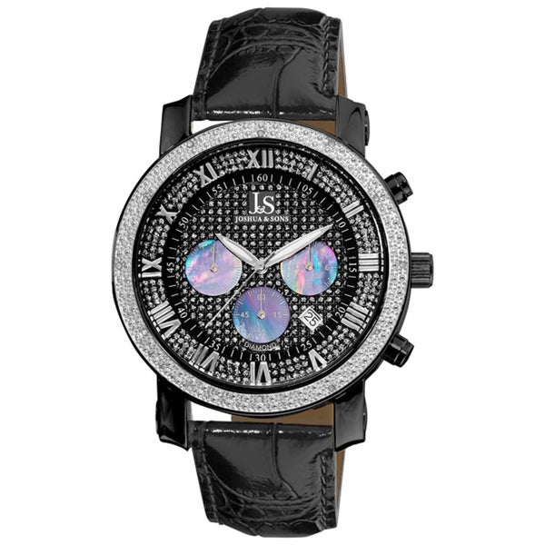 Joshua & Sons Men's Stainless-Steel Diamond Chronograph Strap Watch with FREE GIFT