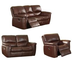 Concorde Wine Leather Reclining Sofa, Loveseat and Reclining Chair ...