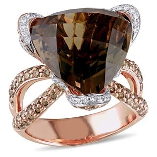 Miadora Signature Collection 14k Gold Smoky Quartz and 1 1/2ct TDW Diamond Ring (G-H, SI1-SI2)