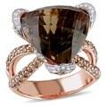 Miadora Signature Collection 14k Gold Smoky Quartz and 1 1/2ct TDW Diamond Ring (G-H, SI1-SI2)