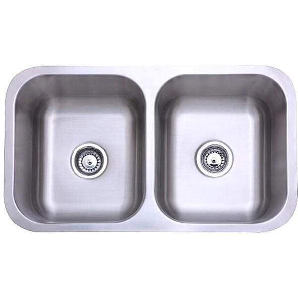 Shop Stainless Steel 31 Inch Undermount Double Bowl Kitchen Sink