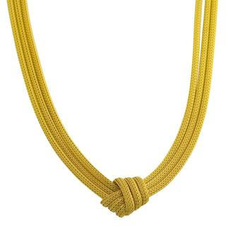 Goldkist 18k Yellow Gold over Silver 3-strand Mesh Knot Necklace