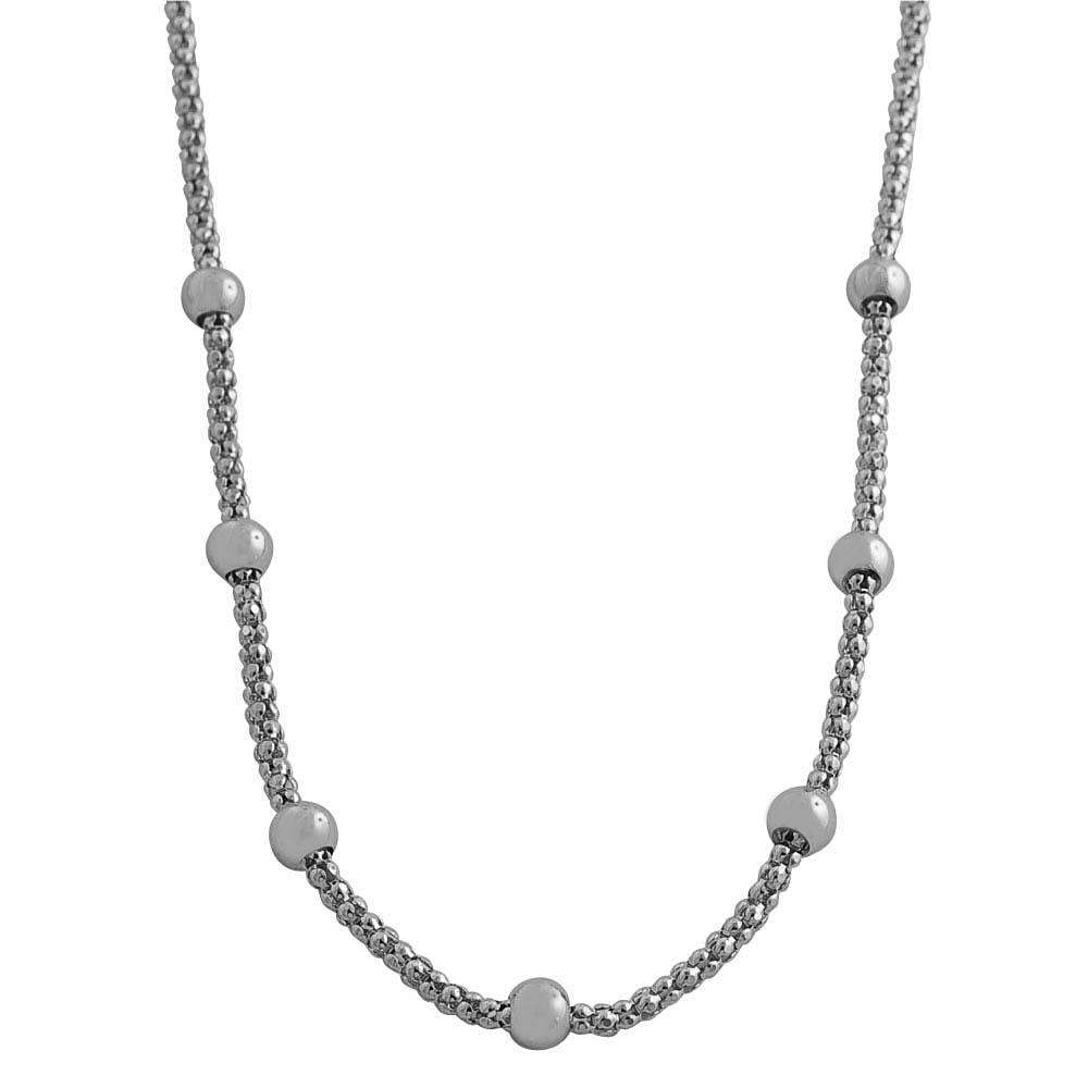 Fremada Platinum over Silver Diamond-cut Popcorn Beads Station Necklace