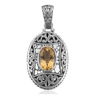 Sterling Silver 'Cawi' Citrine Pendant (Indonesia)