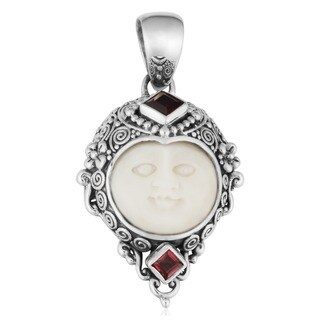 Handmade Sterling Silver Garnet Carved Bone Moon Pendant (Indonesia)