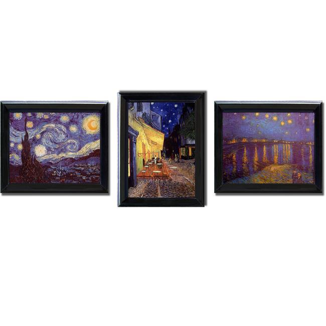 Vincent van Gogh 'Starry Night' Framed 3-piece Canvas Art Set