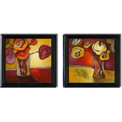 Lanie Loreth 'Red and Yellow Poppies' Framed 2-piece Canvas Art Set