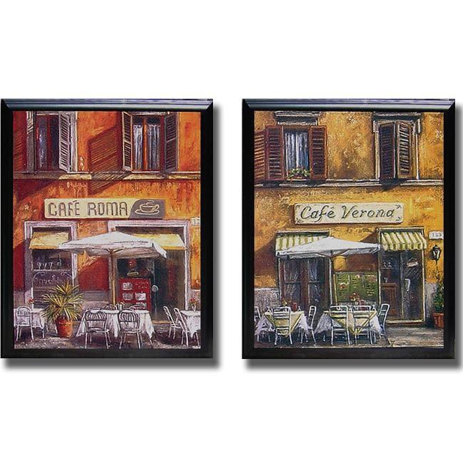 Malcolm Surridge 'Italian Cafe' Framed 2-piece Canvas Art Set