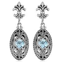 Handmade Sterling Silver Blue Topaz Cawi Earrings (Indonesia)