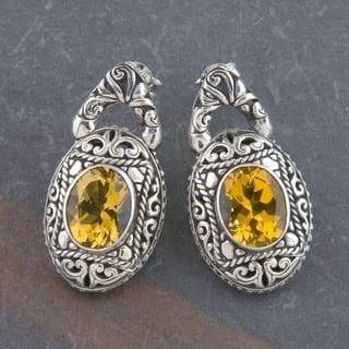 Handmade Sterling Silver Citrine 'Cawi' Earrings (Indonesia)|https://ak1.ostkcdn.com/images/products/5494780/P13279229.jpg?impolicy=medium