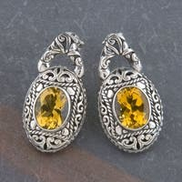 Handmade Sterling Silver Citrine Cawi Gemstone Earrings (Indonesia) - Orange/Yellow