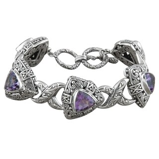 Handmade Sterling Silver 'Cawi' Amethyst Triangle Toggle Bracelet (Indonesia)
