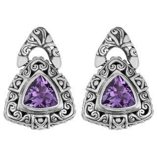 Handmade Sterling Silver Amethyst 'Cawi' Triangle Dangle Earrings (Indonesia)