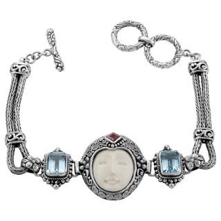 Handmade Sterling Silver 'Moon' Blue Topaz, Garnet and Cow Bone Bracelet (Indonesia)