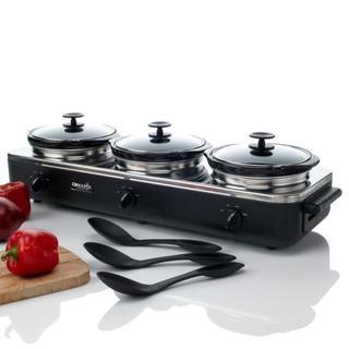 Rival SCRBC909-BS 3-quart Slow Cooker Crock Pot Trio Cook and Serve Buffet Server