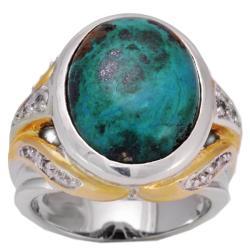 Michael Valitutti Silver Crysocolla and Sapphire Ring