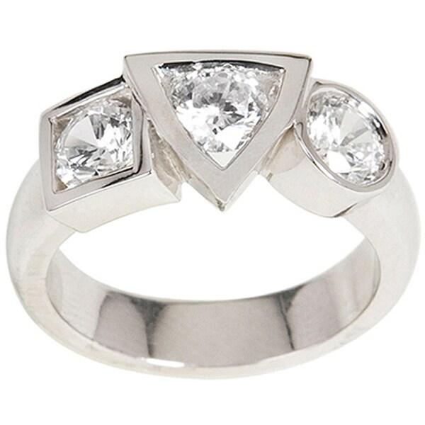 NEXTE Jewelry Silvertone Cubic Zirconia Varaform Basic Shapes Ring