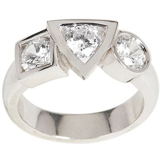 NEXTE Jewelry Silvertone Cubic Zirconia Varaform Basic Shapes Ring