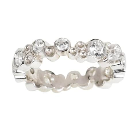 NEXTE Jewelry Silvertone Brass Stackable Cubic Zirconia Eternity Ring