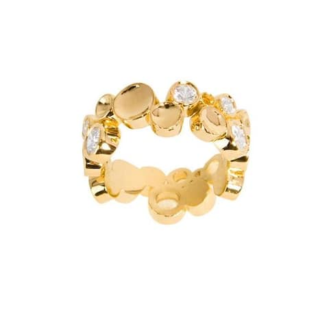 NEXTE Jewelry 14k Gold Overlay Clear Cubic Zirconia Large Bubble-style Eternity Band