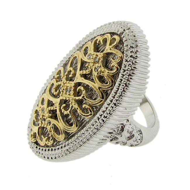 14k Gold over Silver Two-tone CZ Vintage Oval Ring