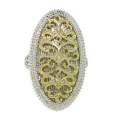 14k Gold over Silver Two-tone CZ Vintage Oval Ring - Thumbnail 1