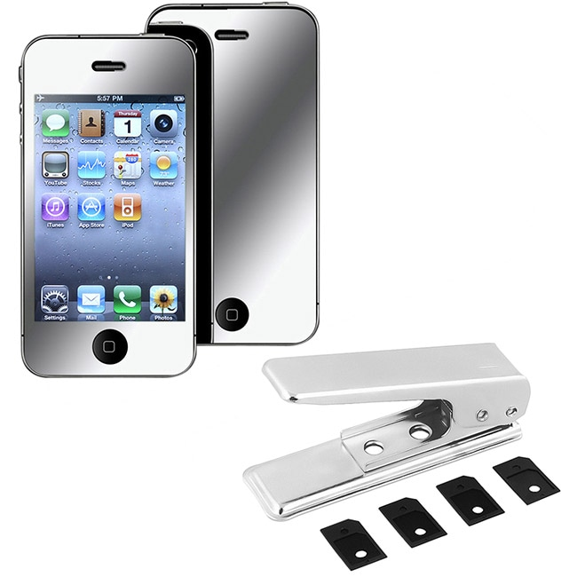 SIM Card Cutter/ Mirror Screen Protector for Apple iPhone 4