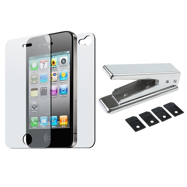 SIM Card Cutter/ 2 Anti-glare Screen Protector for Apple iPhone 4