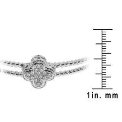 Sterling Silver 1/8ct TDW Diamond Clover Bangle (H-I, I3)