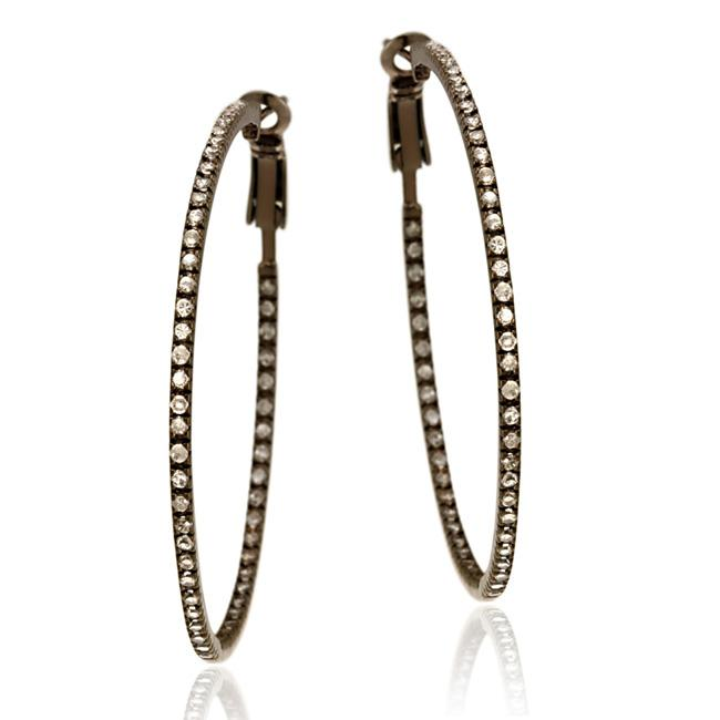 Icz Stonez Brown Rhodium over  Sterling Silver Cubic Zirconia Large Hoop Earrings