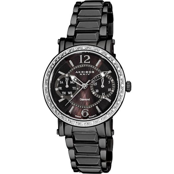 Akribos XXIV Women's Diamond Swiss Steel Ion-Plated Day/ Date Black Watch